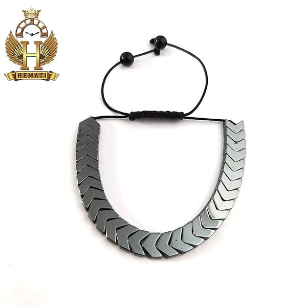دستبند بافت با سنگ حدید DDD1207 طوسی