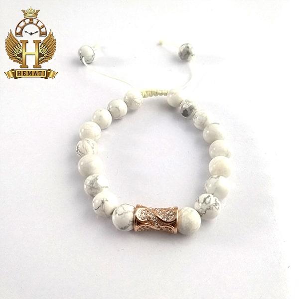 دستبند بافت سنگ سفید طرحدار DDD1000