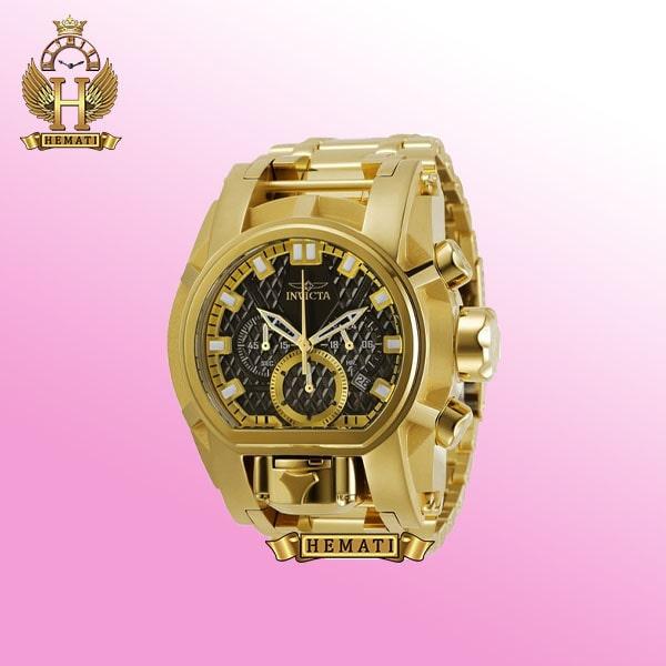 ساعت مچی مردانه اینویکتا بولت زئوس Invicta Bolt Zeus 31553 تمام طلایی با صفحه مشکی