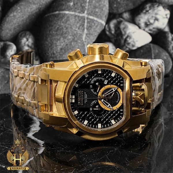 خرید اینترنتی ساعت مچی مردانه اینویکتا بولت زئوس Invicta Bolt Zeus 31553 تمام طلایی با صفحه مشکی