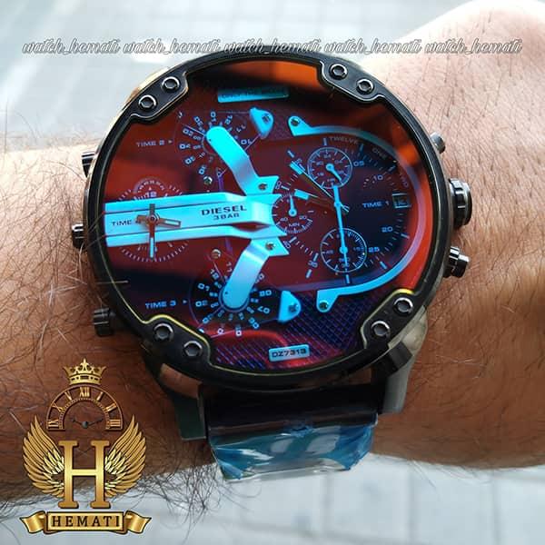 خرید ساعت مردانه دیزل هفت موتوره مدل DIESEL dz-7888 تمام مشکی ، صفحه نقره ای مشکی با شیشه هفت رنگ