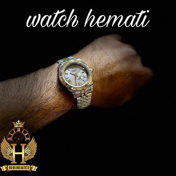 خرید آنلاین ساعت مردانه رولکس دیت جاست Rolex Datejust RODJM301 نقره ای طلایی ، ایندکس یونانی