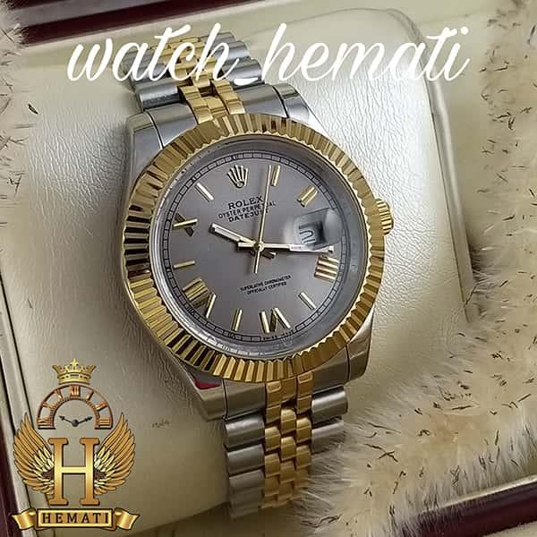 خرید ، قیمت ، مشخصات ساعت مردانه رولکس دیت جاست Rolex Datejust RODJM301 نقره ای طلایی ، ایندکس یونانی