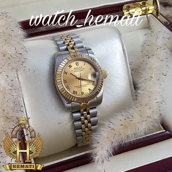خرید ارزان ساعت زنانه رولکس دیت جاست Rolex Datejust RODJL32302 نقره ای طلایی ایندکس یونانی