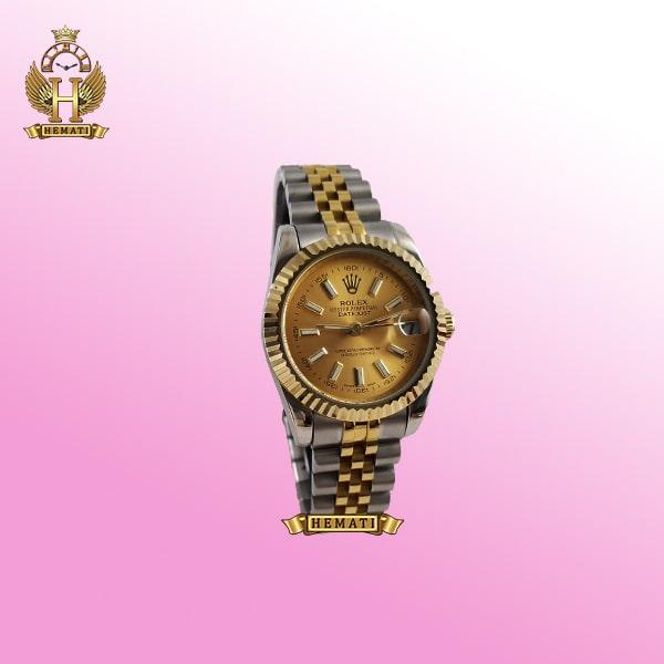 ساعت زنانه رولکس دیت جاست Rolex Datejust RODJL203 نقره ای طلایی با ایندکس خط