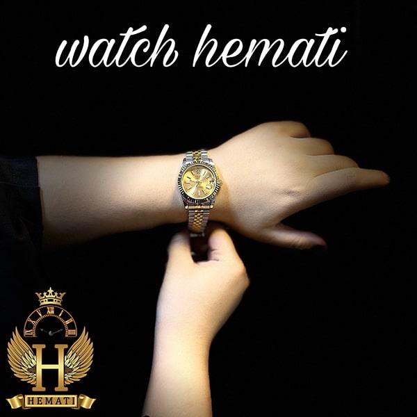 خرید ، قیمت ، مشخصات ساعت زنانه رولکس دیت جاست Rolex Datejust RODJL203 نقره ای طلایی با ایندکس خط