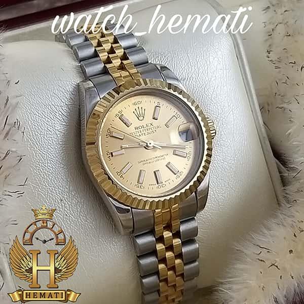 خرید اینترنتی ساعت زنانه رولکس دیت جاست Rolex Datejust RODJL203 نقره ای طلایی با ایندکس خط