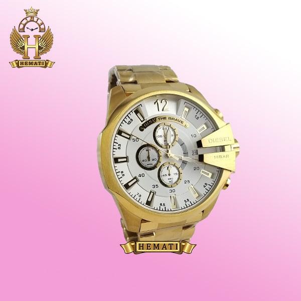 ساعت مردانه دیزل شاخدار مدل DIESEL DZ4308 قاب و بند طلایی با صفحه سفیدطلایی