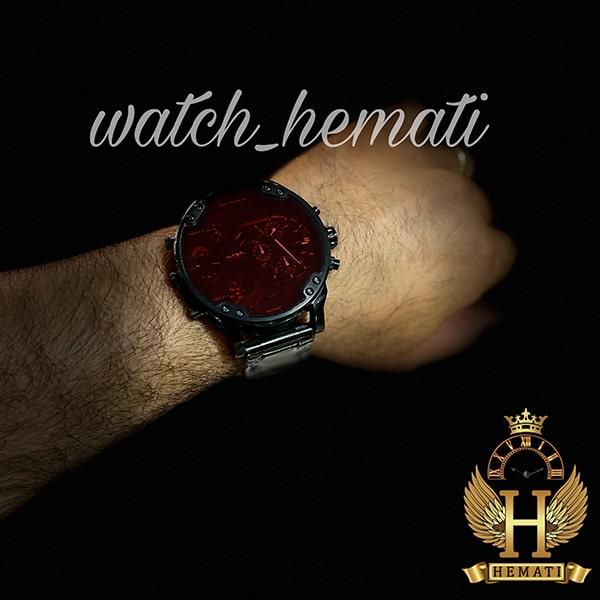 خرید ، قیمت ، مشخصات ساعت مردانه دیزل هفت موتوره مدل DIESEL dz-7402 تمام مشکی با شیشه قرمز
