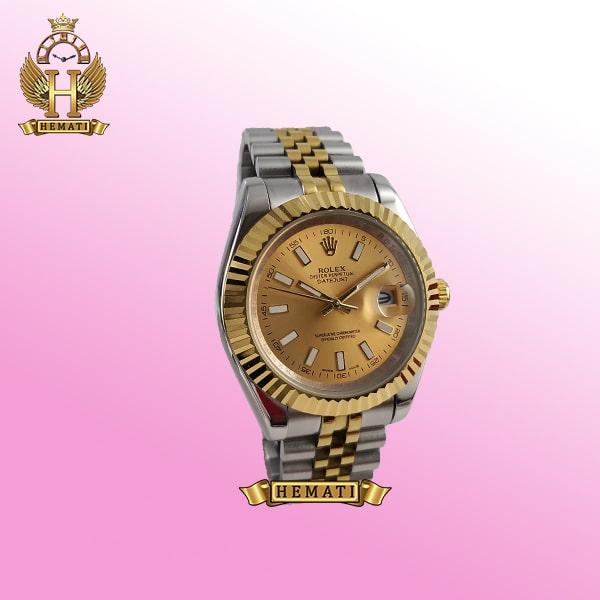 ساعت مردانه رولکس دیت جاست Rolex Datejust RODJM20 نقره ای طلایی با ایندکس خط