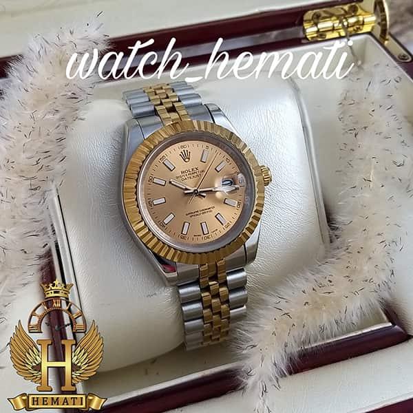 خرید اینترنتی ساعت مردانه رولکس دیت جاست Rolex Datejust RODJM20 نقره ای طلایی با ایندکس خط