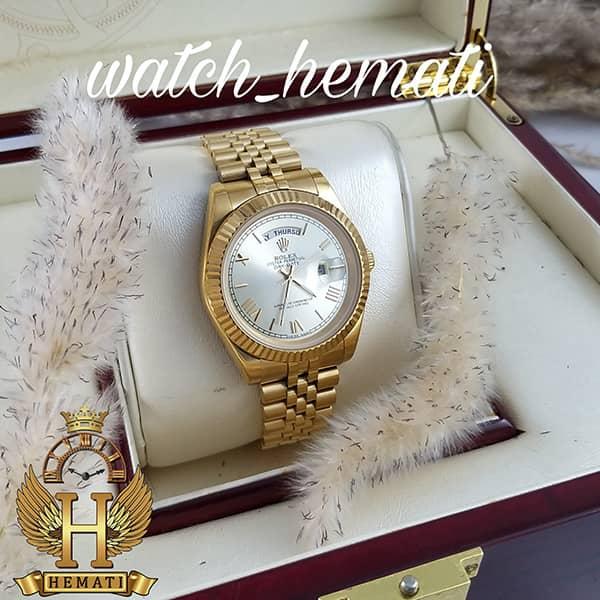 خرید ارزان ساعت مردانه رولکس دی دیت Rolex Daydate RODDM303 تمام طلایی با ایندکس یونانی