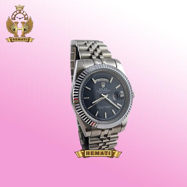 ساعت مردانه رولکس دی دیت Rolex Daydate RODDM304 نقره ای با صفحه سرمه ای و ایندکس خط