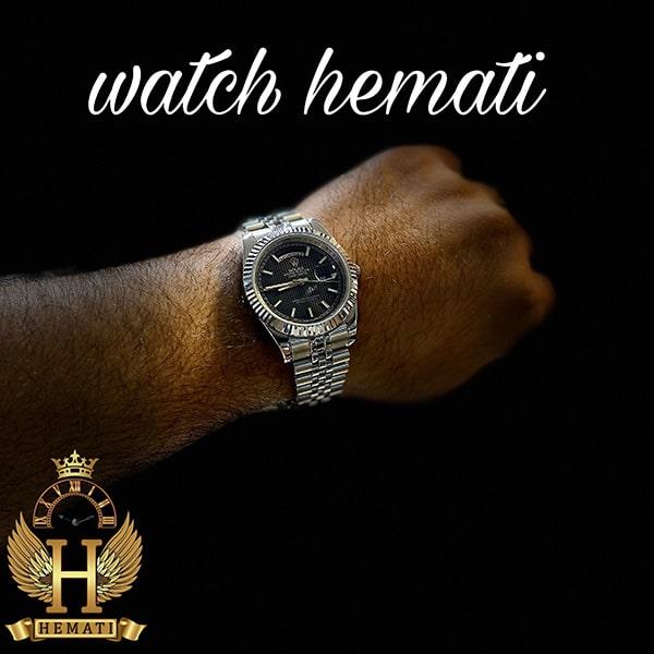 خرید آنلاین ساعت مردانه رولکس دی دیت Rolex Daydate RODDM304 نقره ای با صفحه سرمه ای و ایندکس خط