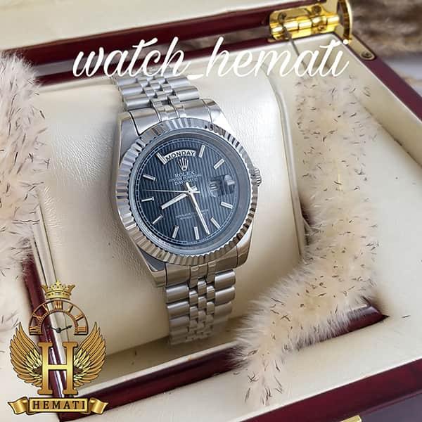 خرید ارزان ساعت مردانه رولکس دی دیت Rolex Daydate RODDM304 نقره ای با صفحه سرمه ای و ایندکس خط