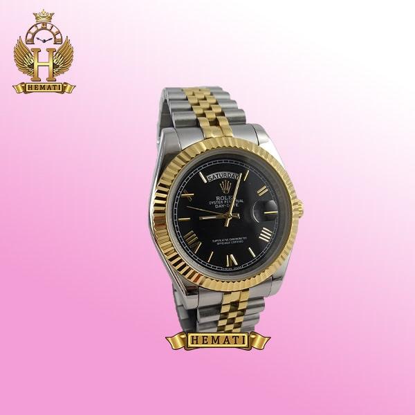 ساعت مردانه رولکس دی دیت Rolex Daydate RODDM307 نقره ای طلایی با صفحه مشکی و ایندکس یونانی