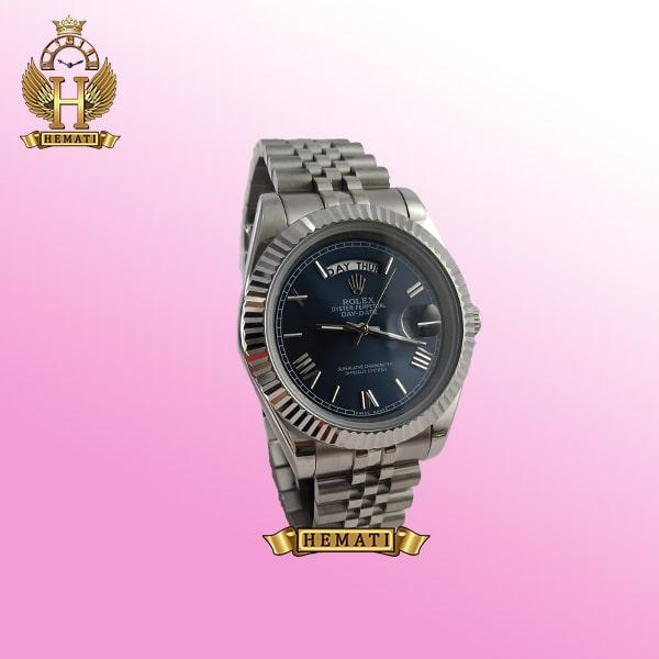 ساعت مردانه رولکس دی دیت Rolex Daydate RODDM305 قاب و بند نقره ای با صفحه سرمه ای و ایندکس یونانی