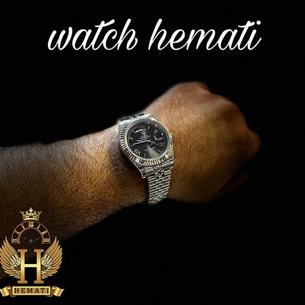 خرید ، قیمت ، مشخصات ساعت مردانه رولکس دی دیت Rolex Daydate RODDM305 قاب و بند نقره ای با صفحه سرمه ای و ایندکس یونانی
