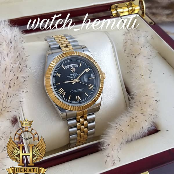 خرید ارازن ساعت مردانه رولکس دی دیت Rolex Daydate RODDM307 نقره ای طلایی با صفحه مشکی و ایندکس یونانی