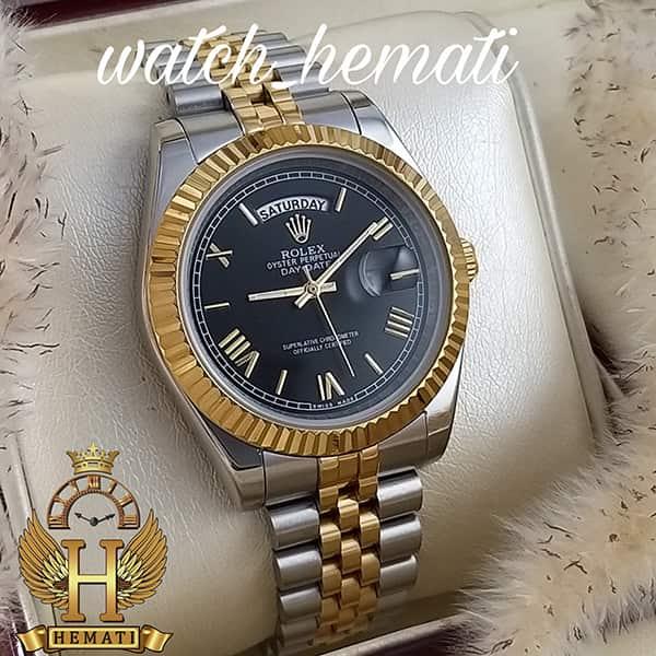 خرید اینترنتی ساعت مردانه رولکس دی دیت Rolex Daydate RODDM307 نقره ای طلایی با صفحه مشکی و ایندکس یونانی