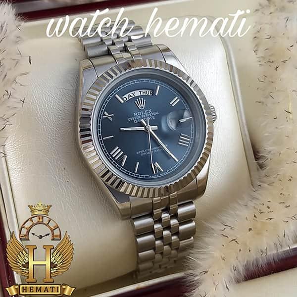 خرید اینترنتی ساعت مردانه رولکس دی دیت Rolex Daydate RODDM305 قاب و بند نقره ای با صفحه سرمه ای و ایندکس یونانی