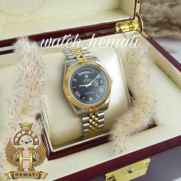 خرید انلاین ساعت مردانه رولکس دی دیت Rolex Daydate RODDM307 نقره ای طلایی با صفحه مشکی و ایندکس یونانی