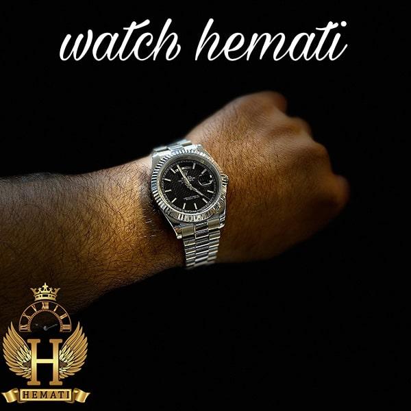 خرید ، قیمت ، مشخصات ساعت مردانه رولکس دی دیت Rolex Daydate RODDM306 قاب و بند نقره ای با صفحه مشکی و ایندکس خط