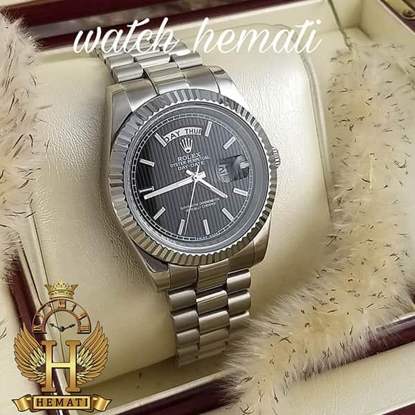 خرید ارزان ساعت مردانه رولکس دی دیت Rolex Daydate RODDM306 قاب و بند نقره ای با صفحه مشکی و ایندکس خط