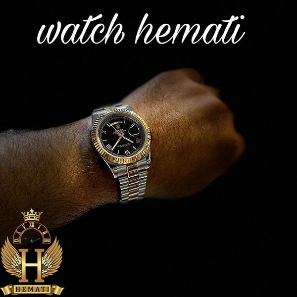 خرید ، قیمت ، مشخصات ساعت مردانه رولکس دی دیت Rolex Daydate RODDM309 نقره ای رزگلد با صفحه مشکی و ایندکس یونانی