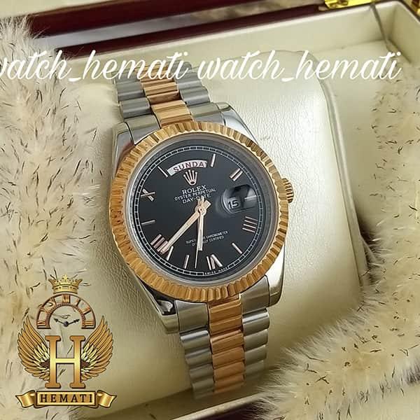 خرید اینترنتی ساعت مردانه رولکس دی دیت Rolex Daydate RODDM309 نقره ای رزگلد با صفحه مشکی و ایندکس یونانی