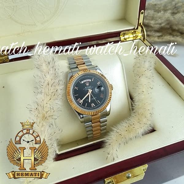خرید انلاین ساعت مردانه رولکس دی دیت Rolex Daydate RODDM309 نقره ای رزگلد با صفحه مشکی و ایندکس یونانی