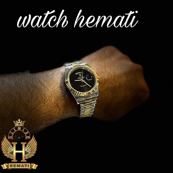 خرید انلاین ساعت مردانه رولکس دی دیت Rolex Daydate RODDM308 نقره ای طلایی با صفحه مهندسی