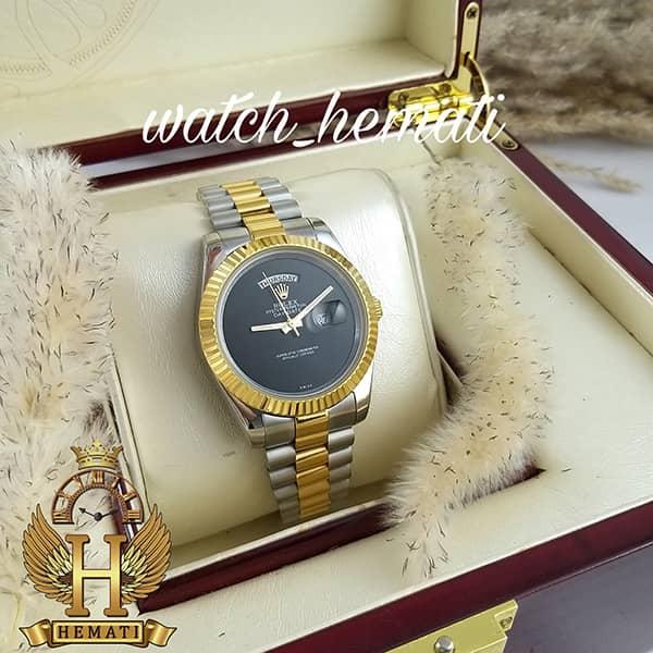 خرید ، قیمت ، مشخصات ساعت مردانه رولکس دی دیت Rolex Daydate RODDM308 نقره ای طلایی با صفحه مهندسی