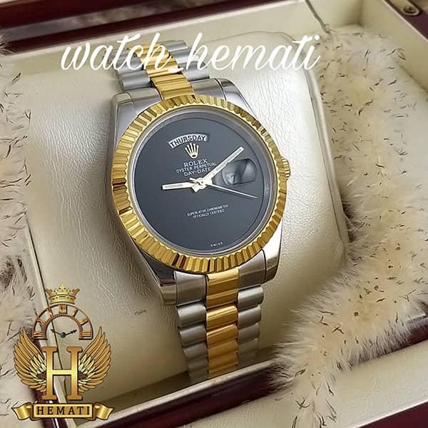 خرید اینترنتی ساعت مردانه رولکس دی دیت Rolex Daydate RODDM308 نقره ای طلایی با صفحه مهندسی