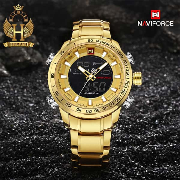 مشخصات ساعت مچی مردانه نیوی فورس Naviforce NF9093M طلایی