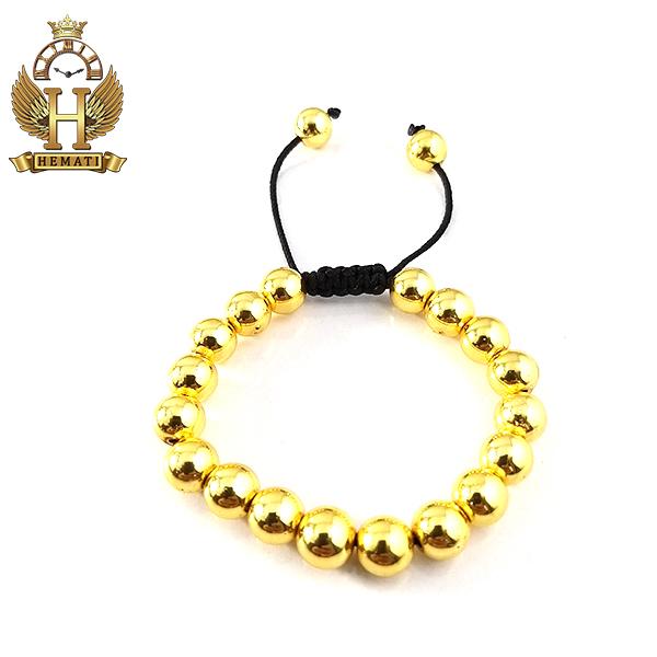 دستبند بافت با سنگ حدید DDD1212 طلایی