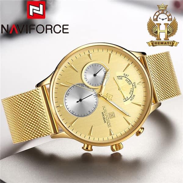 قیمت ساعت مردانه نیوی فورس Naviforce NF3010M در رنگ طلایی