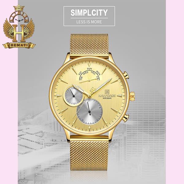 خرید اینترنتی ساعت مردانه نیوی فورس Naviforce NF3010M در رنگ طلایی