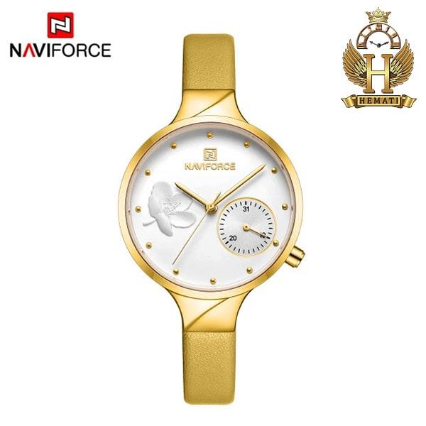 ساعت مچی زنانه نیوی فورس Naviforce NF5001L قاب رزگلد با صفحه و بند چرم زرد