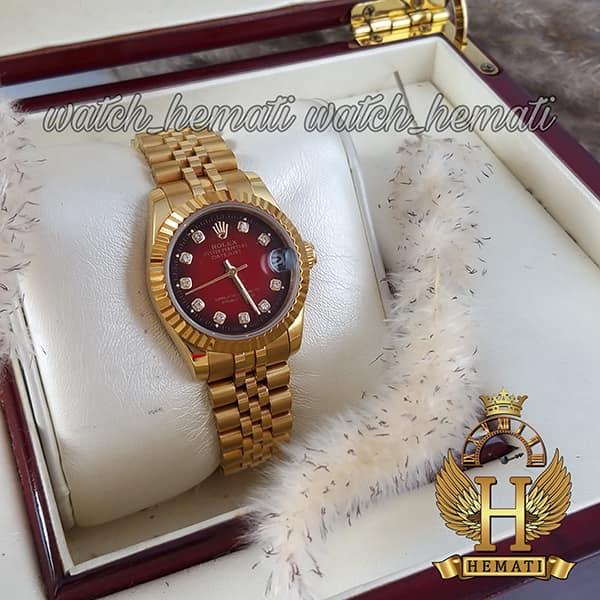 قیمت ساعت زنانه رولکس دیت جاست Rolex Datejust RODJL104 طلایی صفحه قرمز