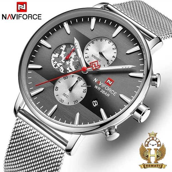 جدید ترین ساعت مردانه نیوی فورس Naviforce NF9169M نقره ای