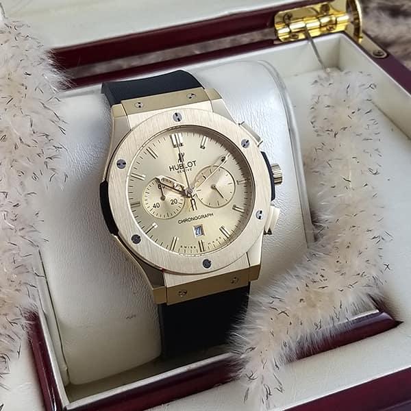 خرید انلاین ساعت مردانه هابلوت بیگ بنگ Hublot Big Bang HU3M116 سه موتوره قاب و صفحه طلایی