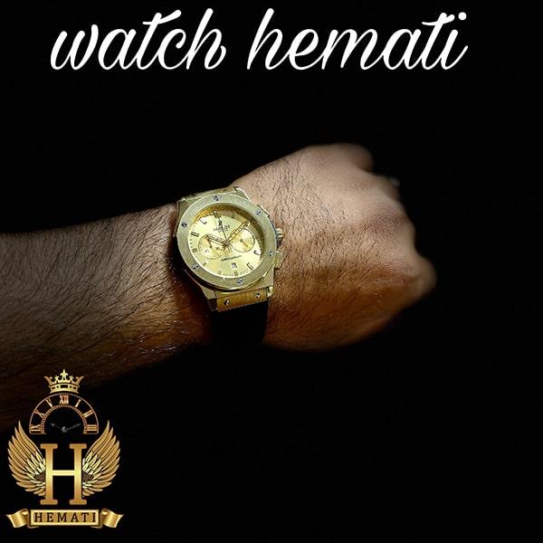 خرید ، قیمت ، مشخصات ساعت مردانه هابلوت بیگ بنگ Hublot Big Bang HU3M116 سه موتوره قاب و صفحه طلایی
