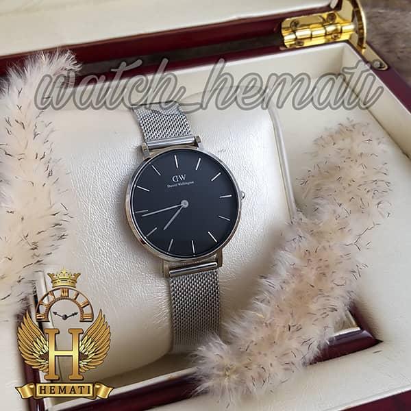 خرید ، قیمت ، مشخصات ساعت زنانه دنیل ولینگتون Daniel Wellington DWL15 قاب و بند نقره ای با صفحه مشکی