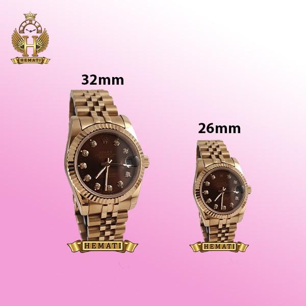 ساعت زنانه رولکس دیت جاست Rolex Datejust RODJL101 رزگلد صفحه قهوه ای