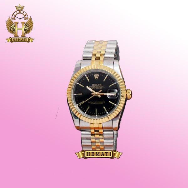 ساعت مردانه رولکس دیت جاست Rolex Datejust RODJM204 نقره ای طلایی ، ایندکس خط ، صفحه مشکی