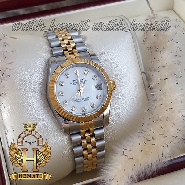 مشخصات ساعت زنانه رولکس دیت جاست Rolex Datejust RODJL115 نقره ای طلایی صفحه سفید صدف