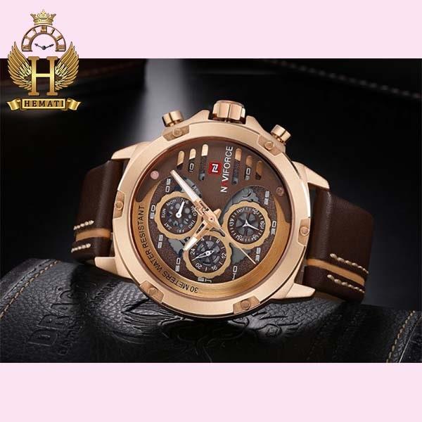 خرید ساعت مچی مردانه نیوی فورس Naviforce NF9110M RG/CE//BN بند قهوه ای