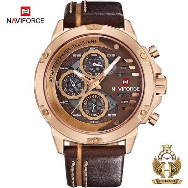 مشخصات ساعت مچی مردانه نیوی فورس Naviforce NF9110M RG/CE//BN بند قهوه ای