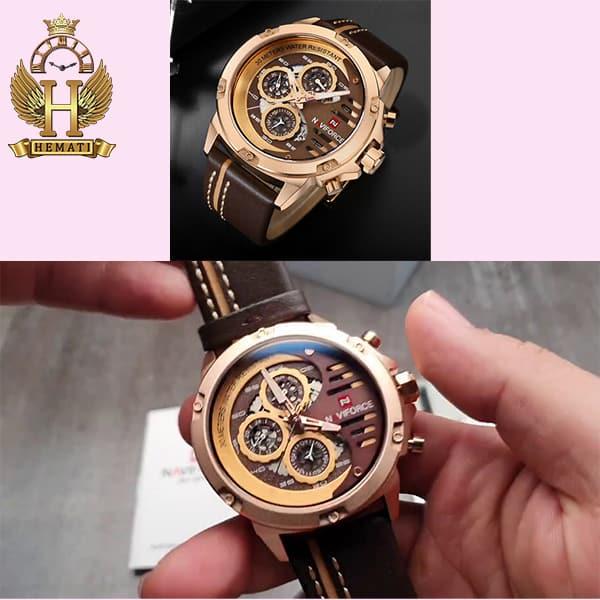 خرید انلاین ساعت مچی مردانه نیوی فورس Naviforce NF9110M RG/CE//BN بند قهوه ای